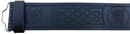 Scottish Highland Black Leather Masonic, Thistle, Plain, Rampant Lion and Celtic Kilt Belts