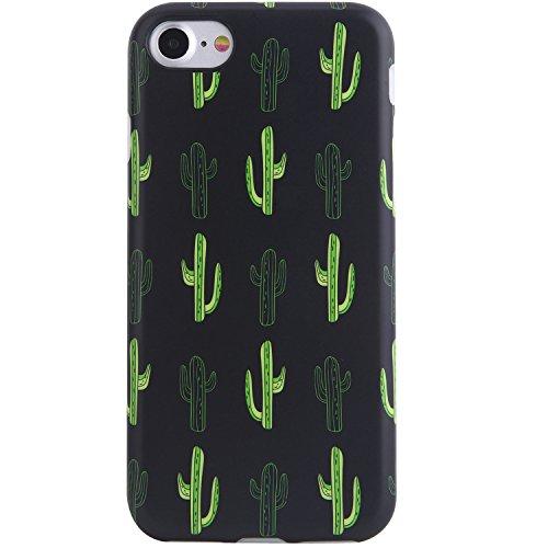 VIVIBIN Cute iPhone 7 Case,iPhone 8 Case,Green Black Cactus for Men Women Girls Clear Bumper Soft Silicone Rubber Matte TPU Best Protective Cover Slim Fit Phone Case for iPhone 7/iPhone 8