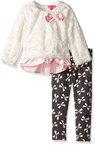 Betsey Johnson Little Girls' 2 Piece Bow Print Legging Set, Ivory, 5 - Betsey Johnson 2 Piece