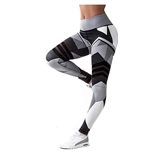 Patchwork Yoga Pants, Women's Sports Gym Yoga Workout Leggings Mid Waist Running Fitness Elastic Pants by E-Scenery (Gray, X-Large)