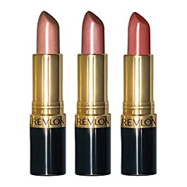 Revlon Super Lustrous Lipstick with Vitamin E and Avocado Oil, 3 Piece Lip Kit Gift Set (420 Blushed – Pearl, 205 Champagne on Ice – Pearl, 325 Toast of New York – Cream), 2.4 oz