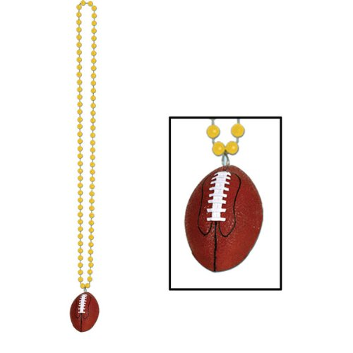 Football Medallion - Beads w/Football Medallion (gold) Party Accessory  (1 count) (1/Card)
