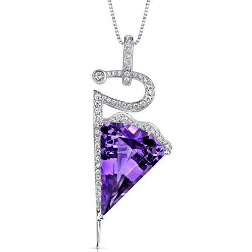 14 Karat White Gold Fancy Cut 9.00 carats Amethyst Diamond Pendant
