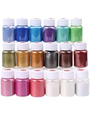 18 Colors Mica Powder, Pearl Pigment Powder, Metallic Paint Dry Pigment for Epoxy Resin, Soap Making, Resin Jewelry Art, Painting, Bath Bombs, Slime, Candle Making