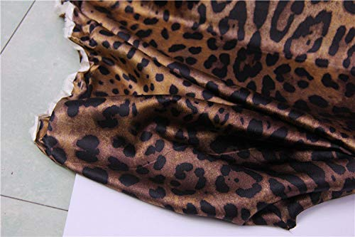 FidgetKute Designer 100% Silk Satin Heavy Weight Brown Leopard Print 105CM Width S251 by The Meter by FidgetKute