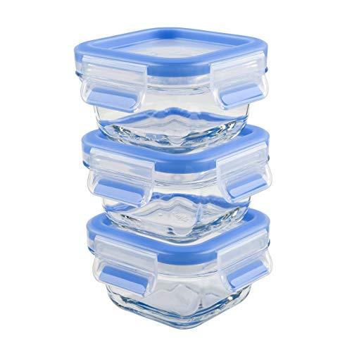 Emsa Clip & Close Set de 3 Conservadores Hermético de Cristal de borosilicato de 0,2 L, higiénico, no retiene olores ni sabores 100% Libre de BPA, Transparente/Azul, 0.2 L