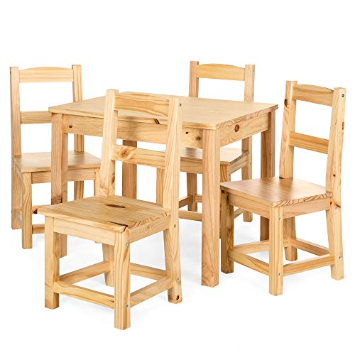 - Best Choice Products 5-Piece Kids Toddlers Multipurpose Wooden Activity Table Furniture Set for Nursery, Bedroom, Play Room, Living Room, Classroom w/ 4 Chairs - Natural