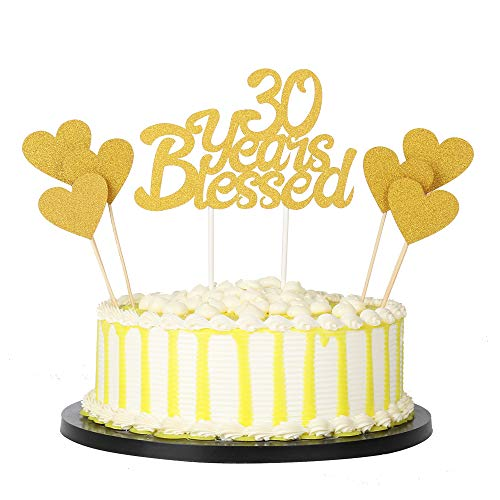 PALASASA 6pc Gold Love Star And Gold Single Sided Glitter 30 Years Blessed Cake Topper For Happy 30th Birthday - Wedding Anniversary Party Decorations Set of 7 (30th) ()