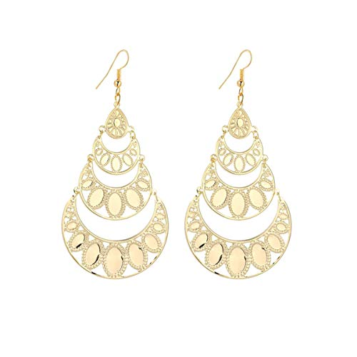(IDB Delicate Filigree Dangle Water Drop Hook Earrings - Available in Silver and Gold Tones (Gold Tone))