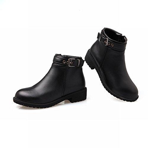 Mee Shoes Damen modern chunky heel Reißverschluss Schnalle-Dekoration Anklestiefel Schwarz