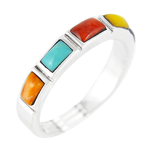 Sterling Silver Stackable Ring Genuine Turquoise & Gemstones (SELECT Color) (11) (Stackable Ring Gemstone)