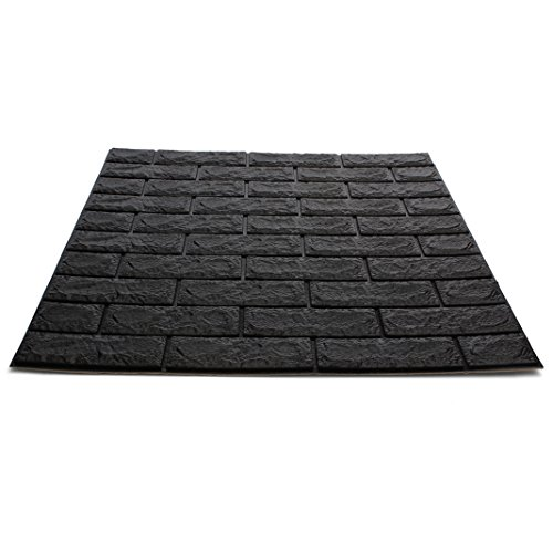 Craft Faux Brick Wall Panels - Peel and Stick Foam Brick - 3D Wall Panels for Fake Brick Wall - Self Adhesive Brick Wall Panels - 3D Brick Wallpaper (20 Pack, Black)