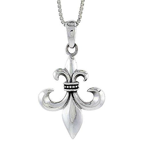 Sterling Silver Fleur De Lis Pendant, 1 5/8 inch tall