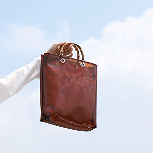 vacaciones mujer 5kg de Gran 1 capacidad verano A de Marrón de 0 10lbs A mano Bolso Bolso Color de Blanco transparente 50xBn5Zv