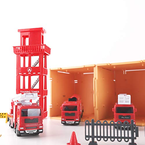 iPlay, iLearn Kids Fire Truck Toys Play Set, Emergency Rescue Firetrucks Vehicles Set W/ Station, Firefighter Toy Crane Truck, Fire Engine, Birthday Gifts for 3 4 5 6 Year Old Boys Toddlers Children
