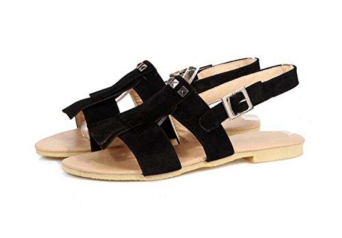 Beauqueen Sandalen Frauen Sommer Pumps Quaste flache Wölbung weibliche beiläufige Schuhe spezielle Größe Europa 30-43 , beige , 33 (not returned)