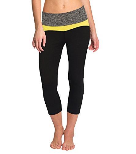 H&C Women's Capri Yoga Workout Pants KAQ44352 YELLOW Large