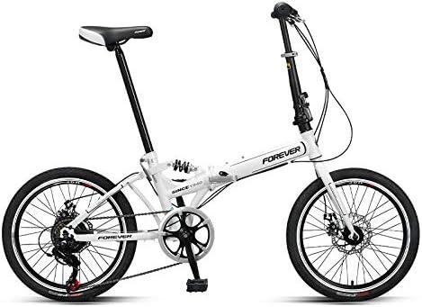 LXLTLB Bicicleta Plegable, Unisex Estudiante 20 Pulgadas Portátil Bicicleta Plegable Urbana Velocidad Variable Ajustable Folding Bike,Blanco: Amazon.es: Hogar