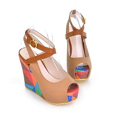 - Women's Wedges Sandals Ankle Buckle Cross Strap Peep Toe Anti-Slip Dress Date Party Prom Platforms Sandal Apricot