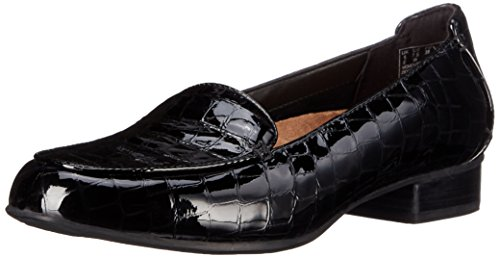 CLARKS Women's Keesha Luca Slip-On Loafer, Black Crocodile Patent, 9.5 M US
