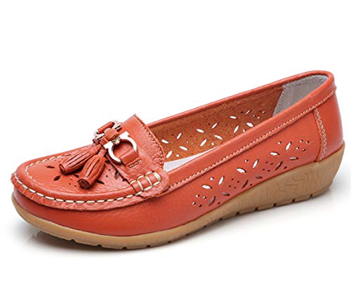 - Women Loafers Leather Oxford Slip On Walking Flats Anti-Skid Boat Shoes (9 M US, W-Orange)