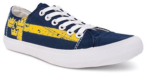 Swedish Flag Sneakers | Cute, Fun Sweden Tre Kronor Tennis Shoe For Women or Men Blue