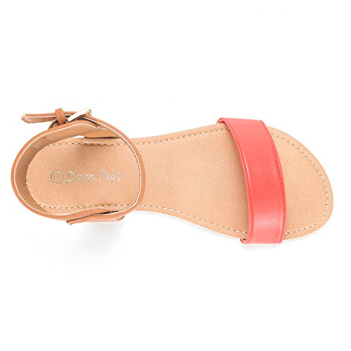 Strap Flat Flexible One Tan Open Hoboo coral Toes Sandals Alexa Summer New Cute DREAM Band PAIRS Ankle Women's wzH774