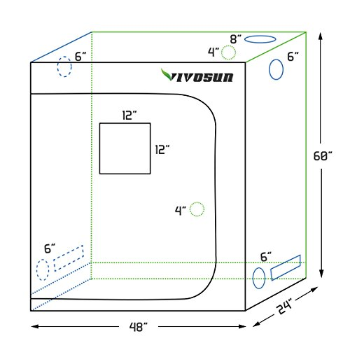 """VIVOSUN 48""""x24""""x60"""" Mylar Hydroponic Grow Tent with Observation Window and Floor Tray for Indoor Plant Growing 2'x4'"""
