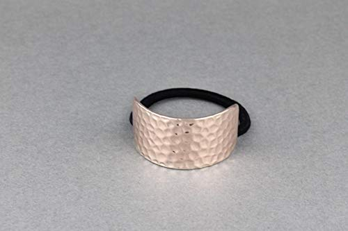 Rose Gold Metal Cuff Genie Style Ponytail Holder Stretch Elastic Pony Tail Cover Girls Headbands For Women ()