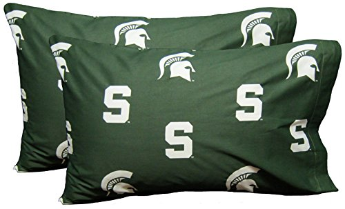 College Covers Michigan State Spartans Pillowcase Pair - Solid (Includes 2 Standard Pillowcases)
