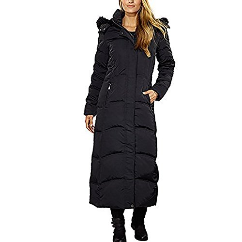 Ladies Maxi Down Coat Detachable Faux Fur Hood-Black,Small Detachable Fur Trim Hood Jacket