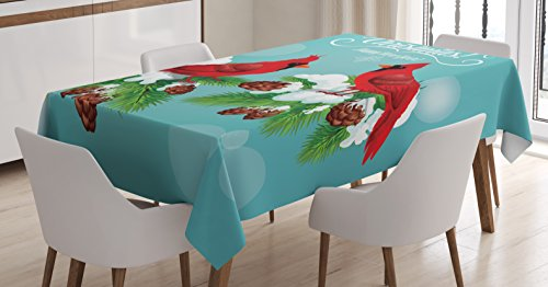 Lunarable Cardinal Tablecloth, Merry Christmas Quote with Red Birds Resting on Pine Branches on Bokeh Background, Dining Room Kitchen Rectangular Table Cover, 52 W X 70 L inches, -