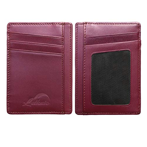 Lethnic Slim Wallet RFID Front Pocket Minimalist Wallet With ID Window - Genuine Leather (Purple) -