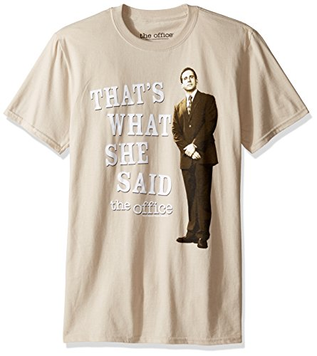 (T-Line Men's The Office TV Series That's What She Said Graphic T-Shirt, Sand, Medium )