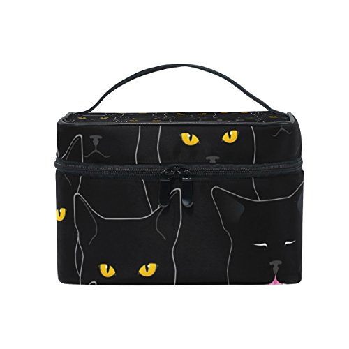 SAVSV Travel Makeup Bags With Zipper Black Cats Pattern Cosmetic Bag Toiletry Bags Train Cases Storage Bags Portable Multifunction Case for Women Girls