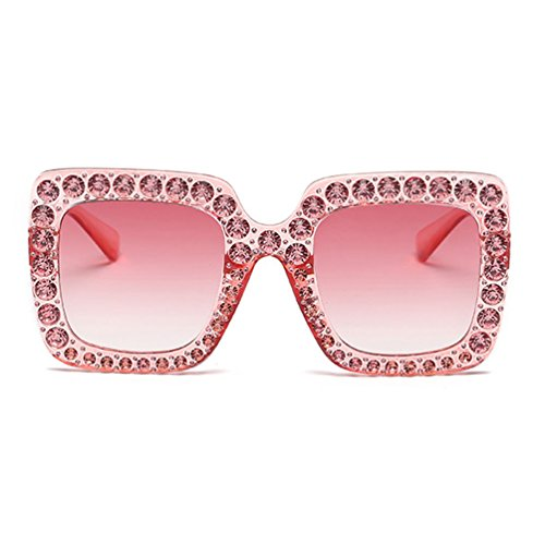 unglasses Party Decorative Gem Trim Square Thick Frame (Pink&Pink) Accessorie club rave comfort DJ elegant fitted Glitter Happy ladies Party-favors pop Summer Winter BBQ activities ()