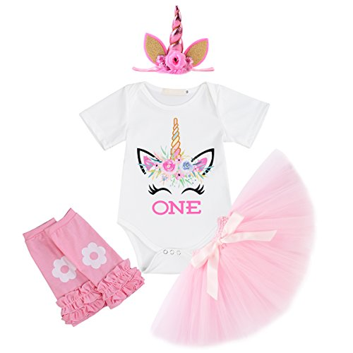 Little Girl Newborn It's My 1st Birthday 3 Pcs/4 pcs Outfits Romper+Skirt+Headband(+Leggings) Cake Smash Party Clothing Set 4pcs White Smile Unicorn Pink 6-12 -