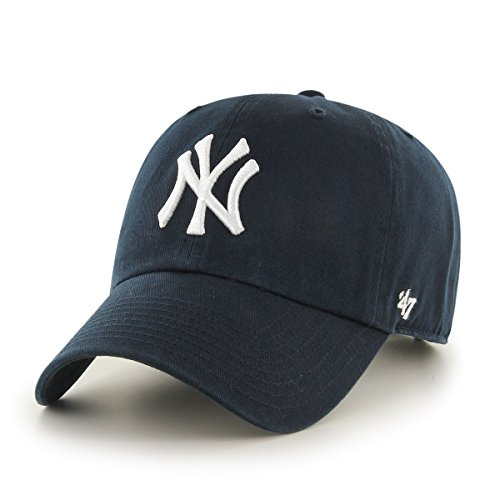 Embroidered T-shirt Hat ('47 MLB New York Yankees Men's Brand Home Clean Up Cap, Navy, One-Size)