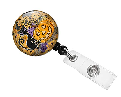 Spooky Halloween Retractable Badge Holder_Alligator Clip (Pumpkin Spite Orange BG_AC)