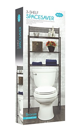 3 Shelf Over The Toilet Spacesaver Easy to Assemble Bronze Metal by DINY Home Collections