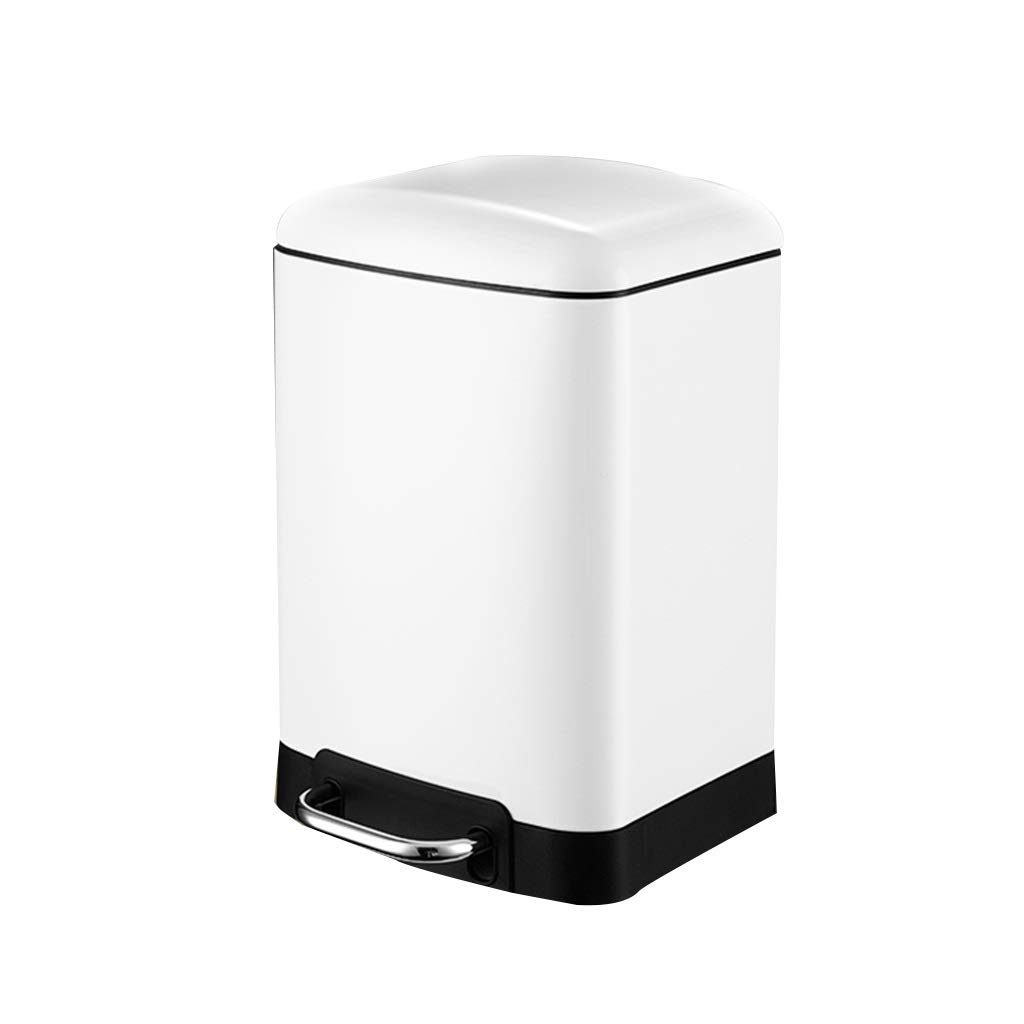 MCGMXG Household Mute Stainless Steel Trash Can Pedal-Type Trash Can Office Trash Can with Cover 6L Multi-Color Optional Trash can (Color : White)