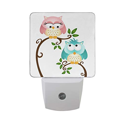 2 PC Plug-in LED Night Lights with Valentine's Day Owl Nightlights with Dusk to Dawn Sensor White Light Perfect for Bathroom Kitchen and Hallway Set 2]()