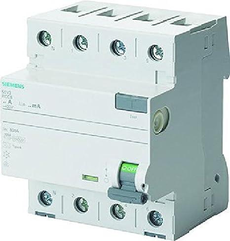 Interruptor diferencial clase-a 4 polos 63a 30ma 70mm Siemens 5sv