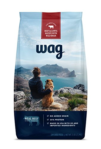 WAG Amazon Brand Dry Dog Food Trial-Size Bag, No Added Grain, Beef & Lentil Recipe with Wild ()