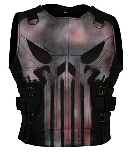 Punisher 2 Series Ray Stevenson Motorcycle Costume Black Leather Vest (3XL to fit Chest 49-50