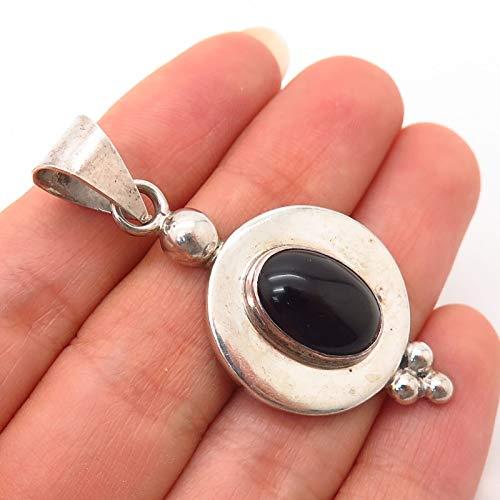 Sterling Silver Vintage Mexico Black Onyx Gemstone Pendant