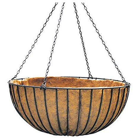 18 inch Hanging Basket -Solid Round Bar Style w/Coco Liner and Chain