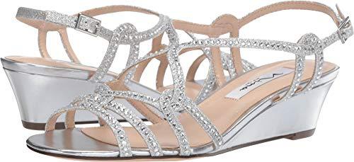 NINA FOOTWEAR Women's, Fynlee Wedge Sandals Silver 8 -