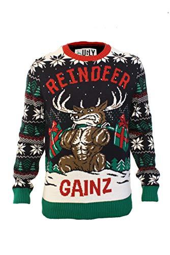 Ugly Christmas Party Sweater Men's Reindeer Gainz Long Sleeve Sweatshirt-L Twilight Xmas
