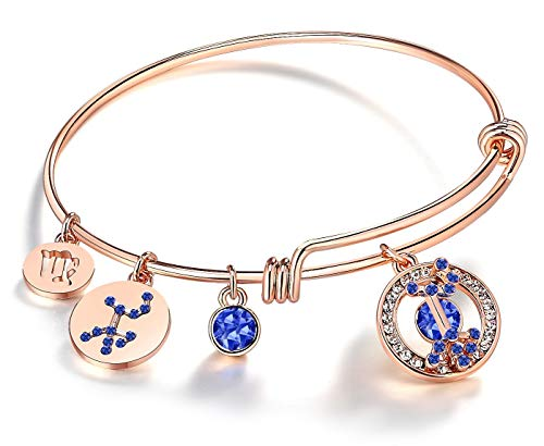 Leafael Superstar Virgo Zodiac Expandable Bangle Bracelet Made with Swarovski Crystals Horoscope Constellation August September Birthstone Sapphire Blue Jewelry, Rose Gold Plated, 7